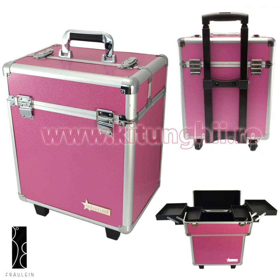 geanta produse cosmetice din aluminium tip troler fraulein38, sweet pink