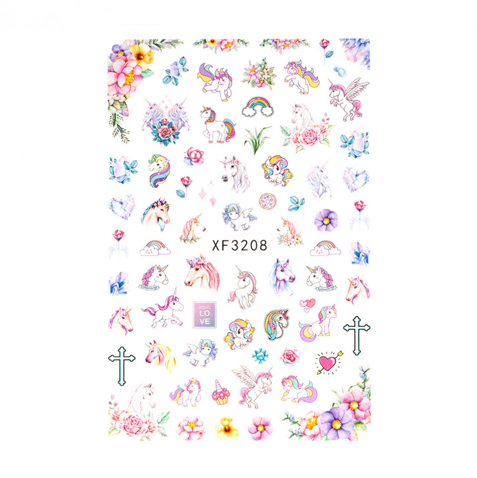 Abtibilduri unghii SensoPRO Unicorn Love XF3208