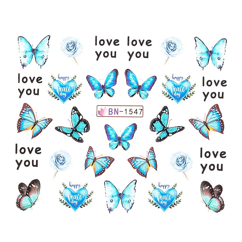 Tatuaj unghii LUXORISE, Butterfly BN-1547 poza noua