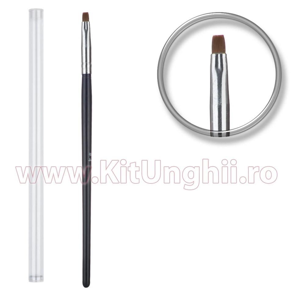 Pensula Unghii Pentru Aplicare Gel Uv Nr.4 Cu Etui Tubular - Ruby Black