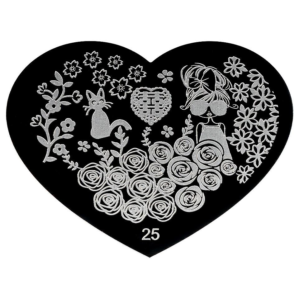 Matrita Metalica Stampila Unghii Hearts #25 imagine 2021 kitunghii