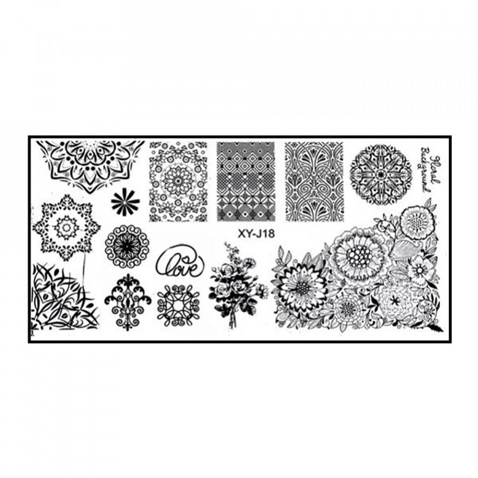 Matrita Metalica Stampila Unghii XY-J18 - Mandala imagine 2021 kitunghii