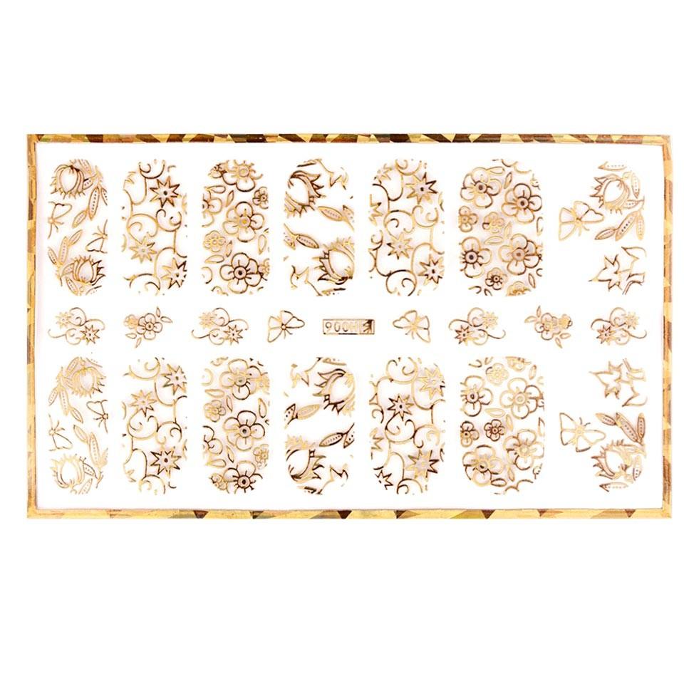 Abtibild unghii cu modele florale aurii H006 imagine produs