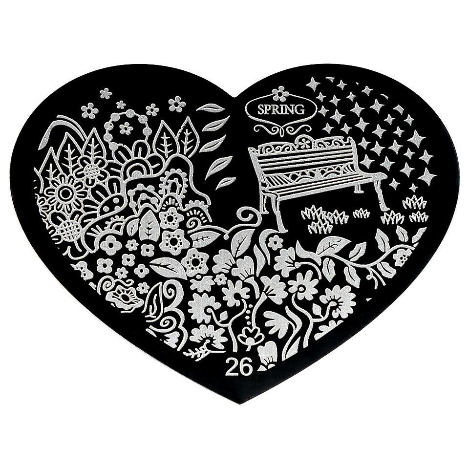 Matrita Metalica Stampila Unghii Hearts #26 imagine 2021 kitunghii