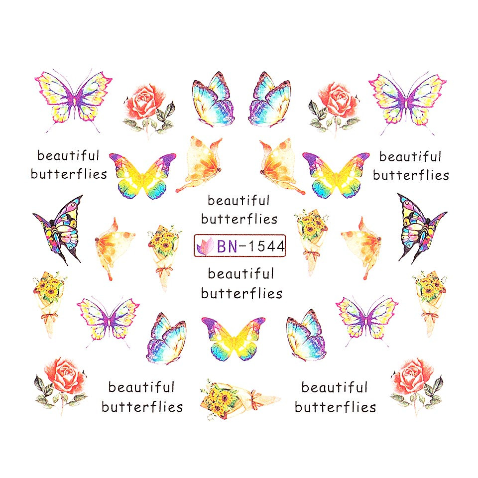 Tatuaj unghii LUXORISE, Butterfly BN-1544 imagine 2021 kitunghii