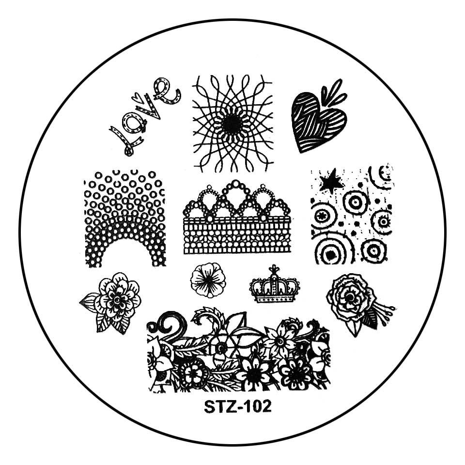 Matrita Metalica Stampila Unghii STZ-102 - Nature Love Story imagine 2021 kitunghii