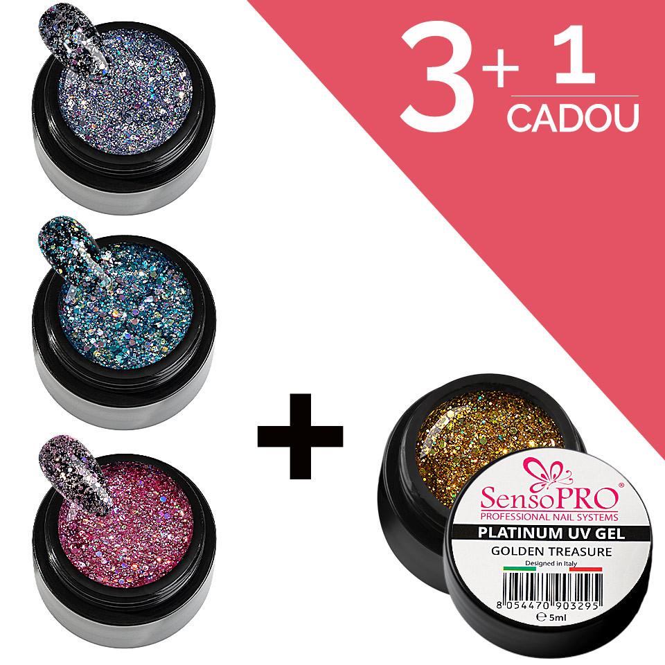 Set Unghii Platinum Gel SensoPRO 3+1 Cadou