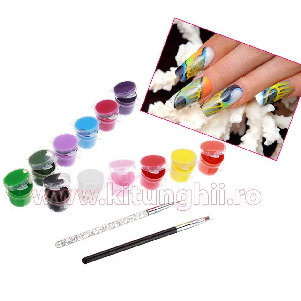 Vopsele Acrilice 3d Tip Acuarela - 12 Culori - 7 Ml + 2 Pensule Manichiura