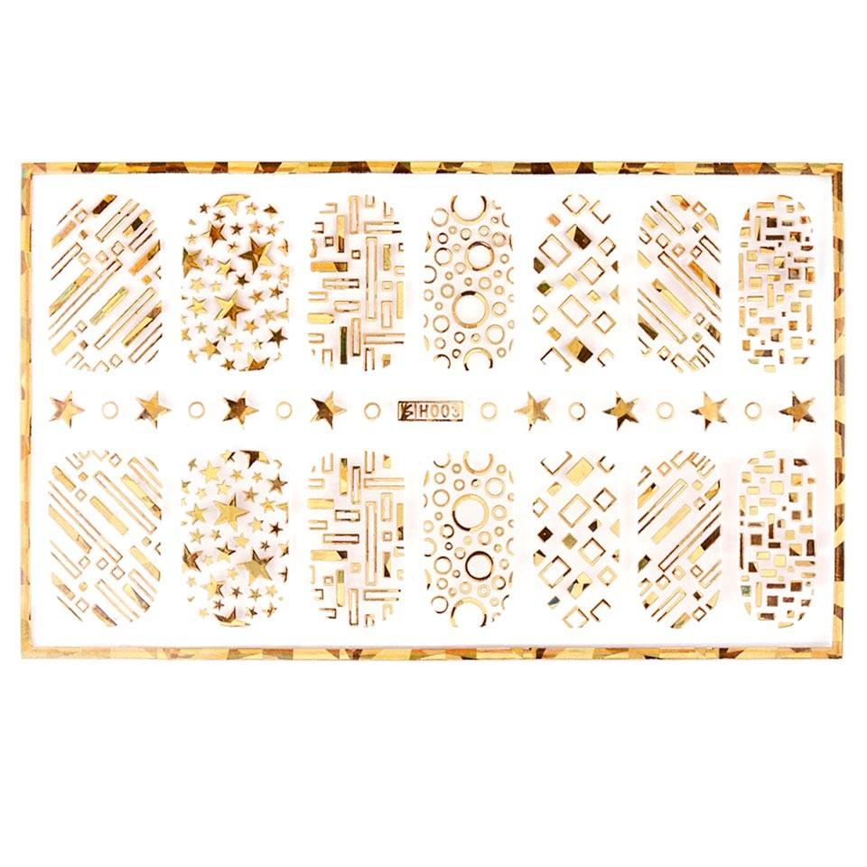 Abtibild unghii cu modele aurii H003 imagine produs