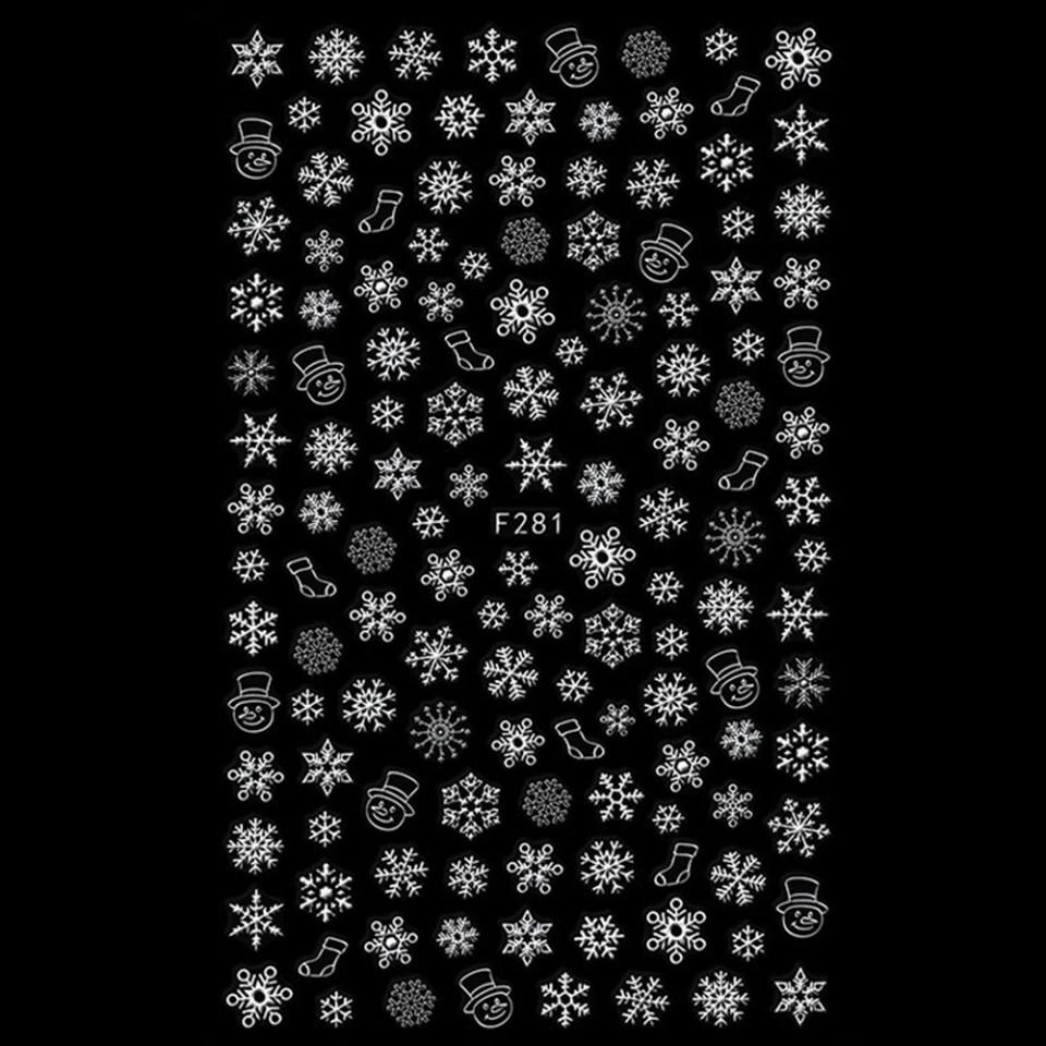 Abtibilduri unghii 3D model F281 Universul de Gheata, white imagine produs