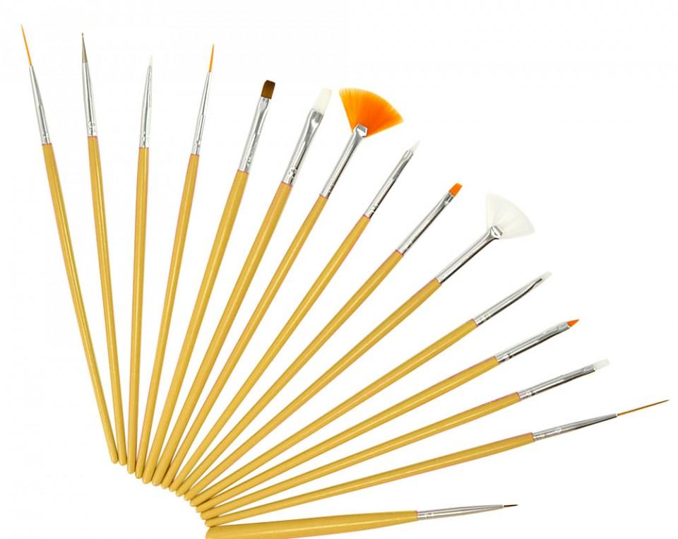 Set 15 Pensule Manichiura Unghii False - Golden Strokes