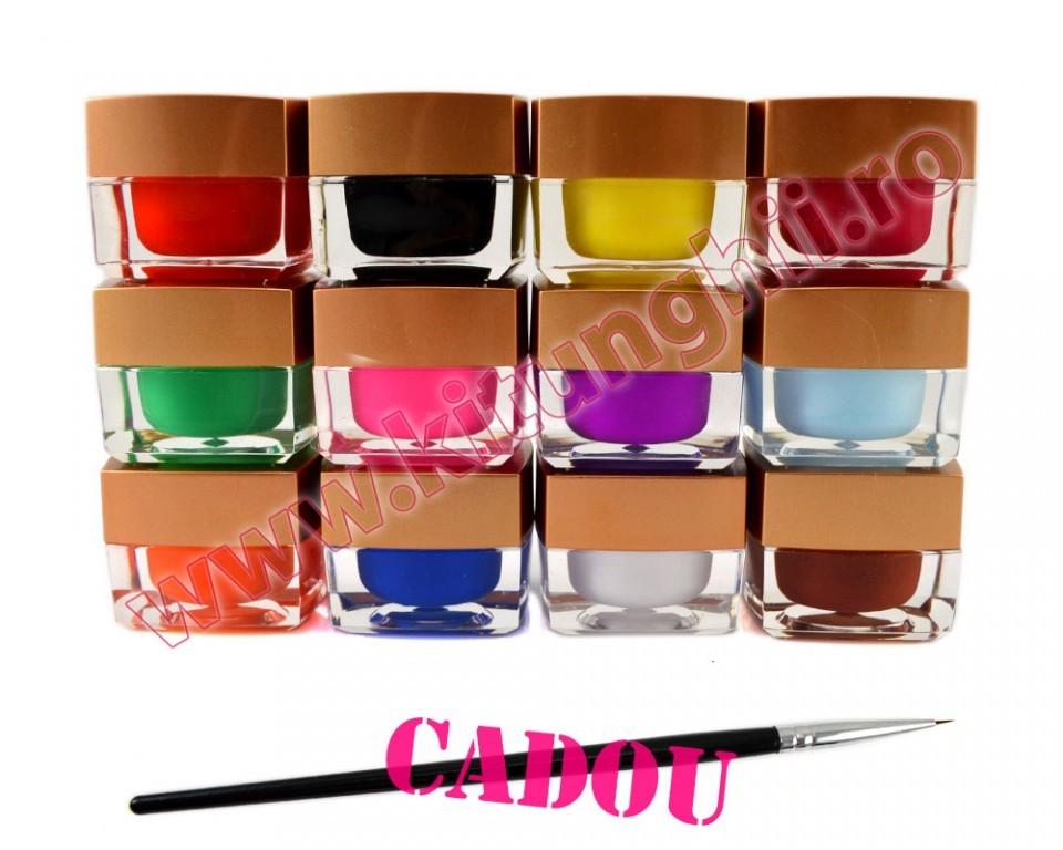 Set 12 Geluri Uv Color Ezflow, Set Gel Uv Color + Cadou