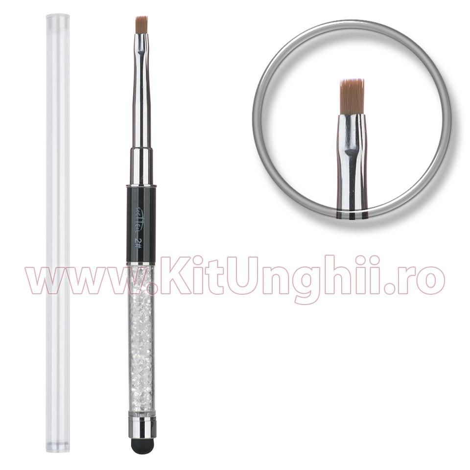 Pensula Unghii Premium Aplicare Gel Cu Cristale Si Capac Nr. 2 Cream