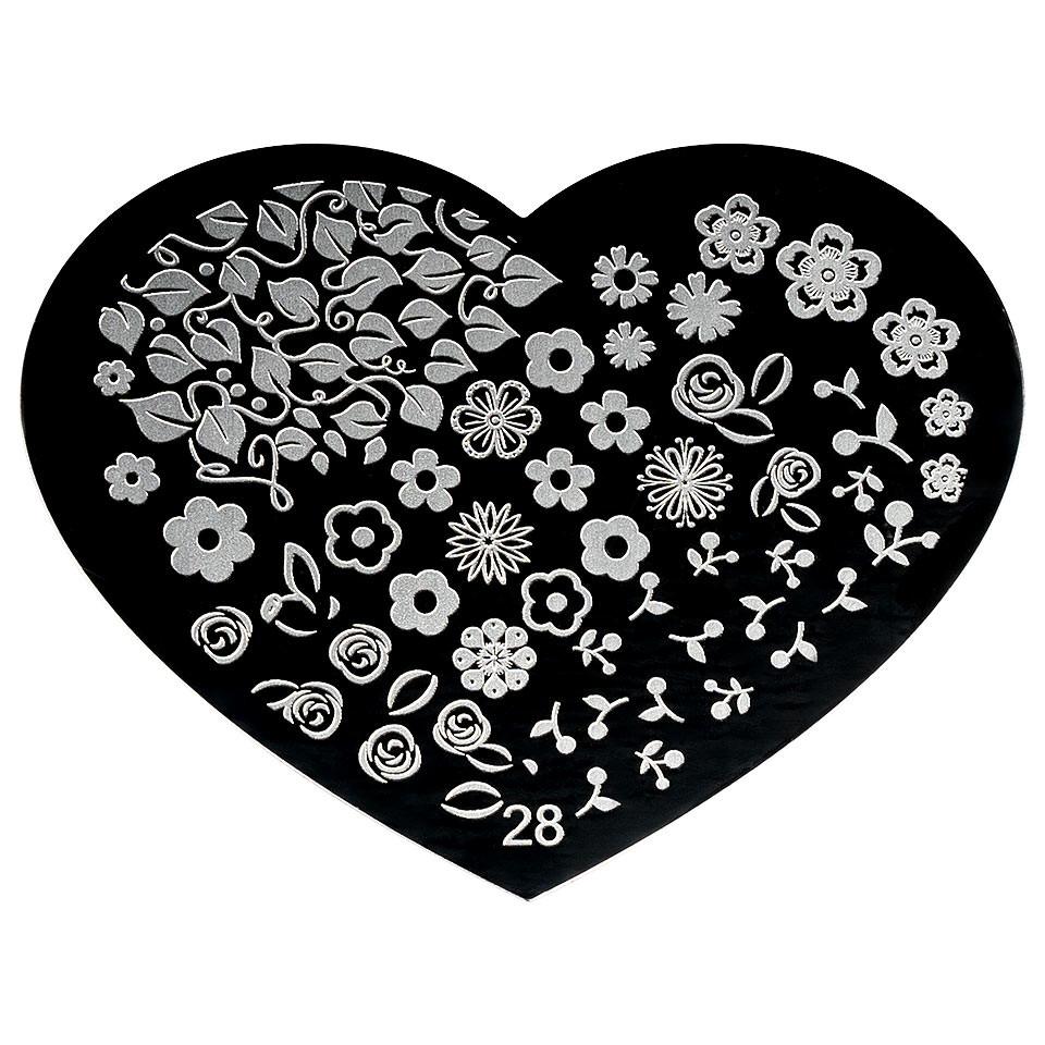 Matrita Metalica Stampila Unghii Hearts #28 imagine 2021 kitunghii