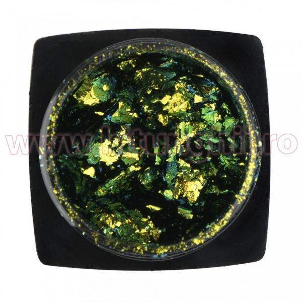 Poze Decoratiune Unghii Folie Cameleon Metallic Green
