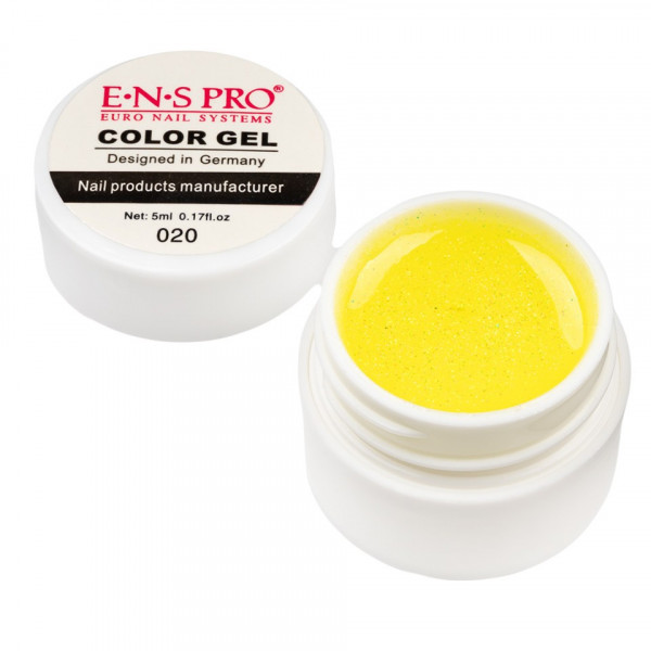 Poze Gel UV Color cu Sclipici ENS PRO #020 - Sparkling Yellow
