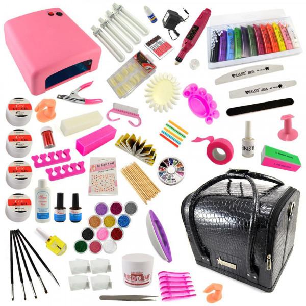 Poze Kit Unghii False cu Gel UV si Geanta Cosmetica Manichiura - Promotie #10 + CADOU 7 Pensule Manichiura