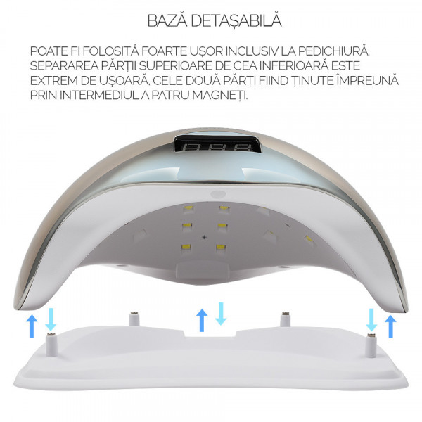 Poze Lampa UV LED 48W SUN5 PRO SensoPRO Milano, Platinum Silver