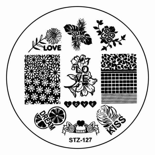 Poze Matrita Metalica Stampila Unghii STZ-127 - Love Story