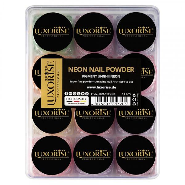 Poze Pigment Neon Unghii LUXORISE - set 12 bucati