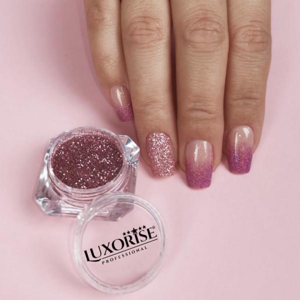 Poze Sclipici Glitter Unghii Pulbere LUXORISE, Rose #19