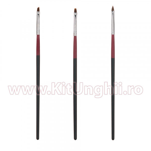 Poze Set 3 Pensule Manichiura Unghii False - Red and Black striped
