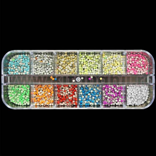 Poze Strasuri Unghii Circulare diverse Culori Neon - Set 12 bucati
