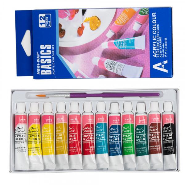 Poze Vopsele Acrilice Colorate - Set 12 bucati + Pensula Pictura CADOU