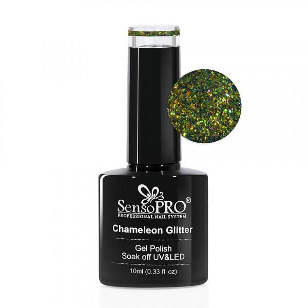Poze Oja Semipermanenta Cameleon Glitter SensoPRO 10ml - 002 Emerald Dreams