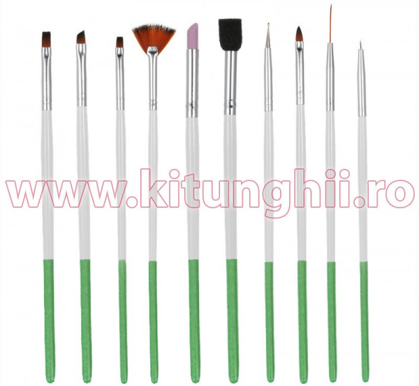 Poze Set 10 Pensule Manichiura Unghii False - Green Touch