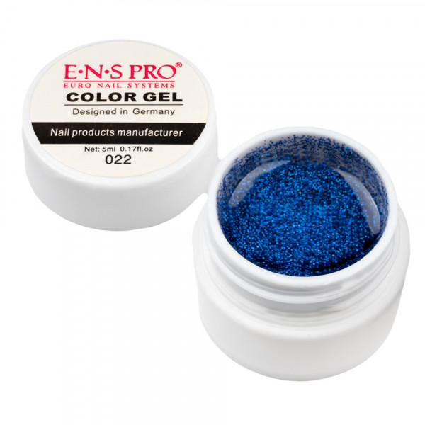 Poze Gel UV Color cu Sclipici ENS PRO #022 - Blue Safir
