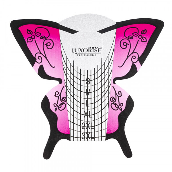 Poze Sabloane Constructie Unghii Gel LUXORISE Germania, Pink Butterfly, 50 buc