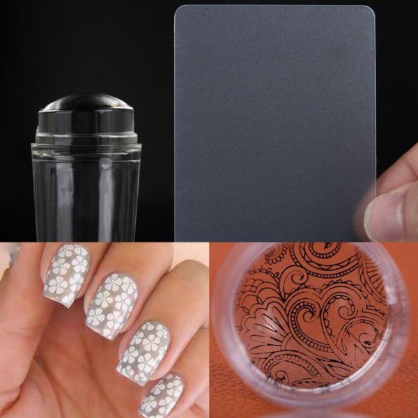 Poze Stampila Unghii din Silicon Transparent cu Capac Vanilla Nails