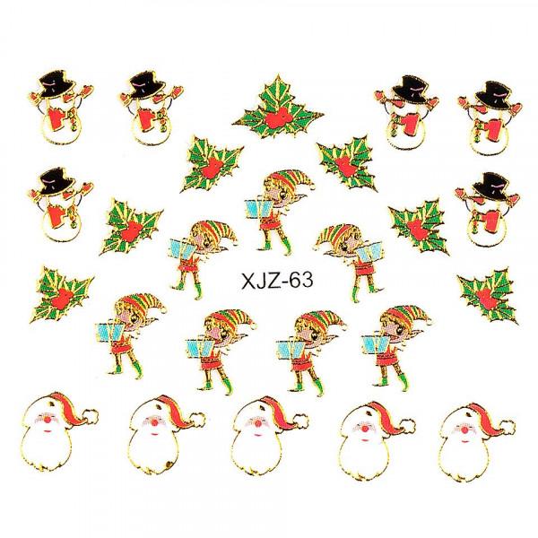 Poze Sticker 3D Unghii LUXORISE XJZ-63, Christmas Collection