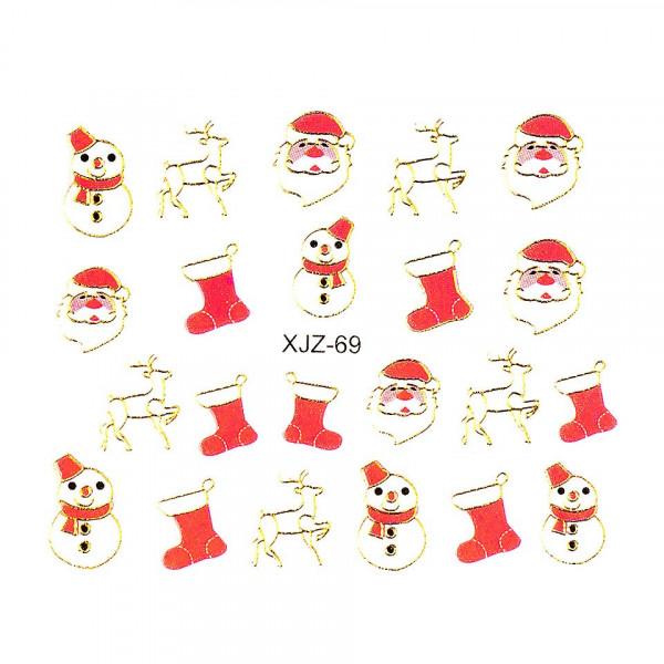 Poze Sticker 3D Unghii LUXORISE XJZ-69, Christmas Collection