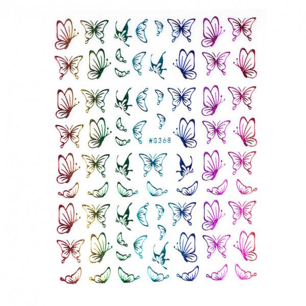 Poze Abtibilduri unghii SensoPRO Magic Butterfly, model WG368 Holo
