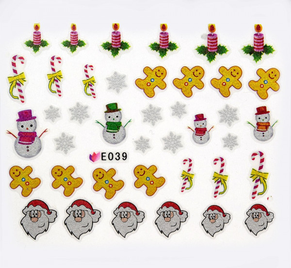 Poze Folie Sticker 3D unghii, model E039 - Christmas Special