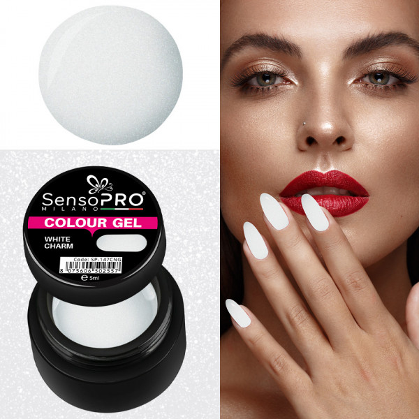 Poze Gel UV Colorat White Charm 5ml, SensoPRO Milano