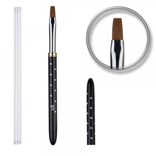 Poze Pensula unghii aplicare gel UV nr.10 cu capac si strasuri - PremiumNailDesign