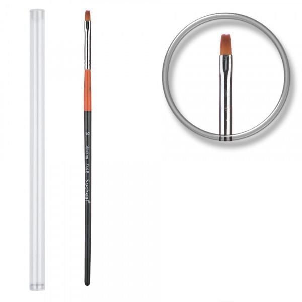 Poze Pensula unghii aplicare gel UV nr.2 cu etui tubular - Royal Orange