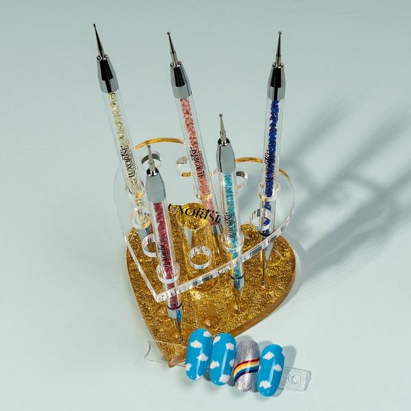 Poze Suport pensule unghii si ustensile manichiura Golden Heart LUXORISE, 12 sloturi