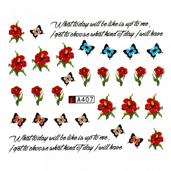 Poze Tatuaj unghii A407 flori si fluturi