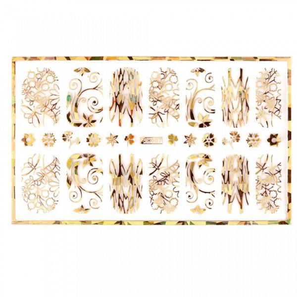Poze Abtibild unghii cu modele florale aurii H007