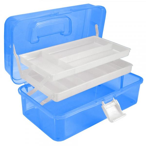 Poze Cutie Manichiura, compartimentata cu doua sertare si maner, albastra