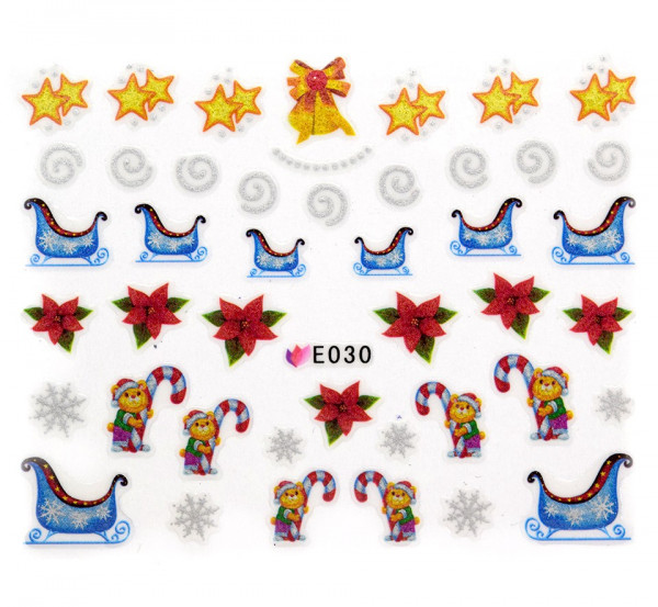 Poze Folie Sticker 3D unghii, model E030 - Incredible Christmas