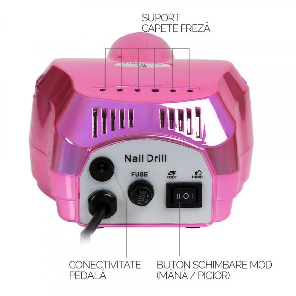 Poze Freza Unghii Profesionala Elite Nails 30.000 RPM - SensoPRO Milano, Royal Pink