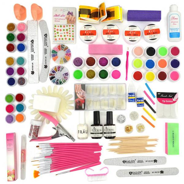 Poze Kit Consumabile Unghii False cu Gel UV - Promotie #46 + CADOU 12 Geluri Colorate ENS PRO