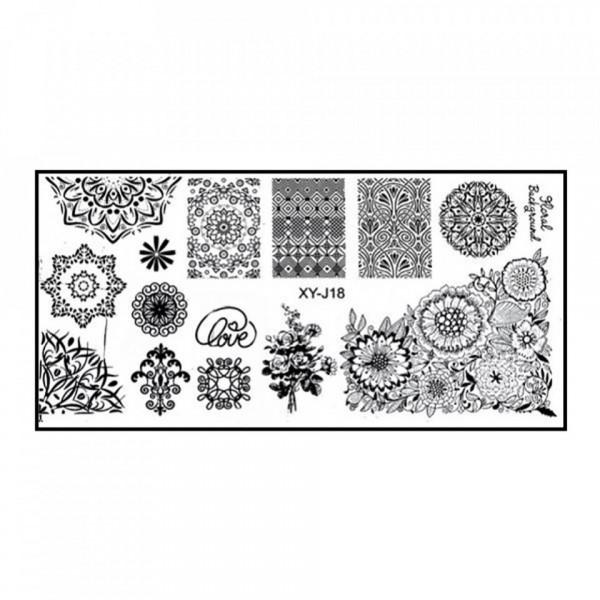Poze Matrita Metalica Stampila Unghii XY-J18 - Mandala