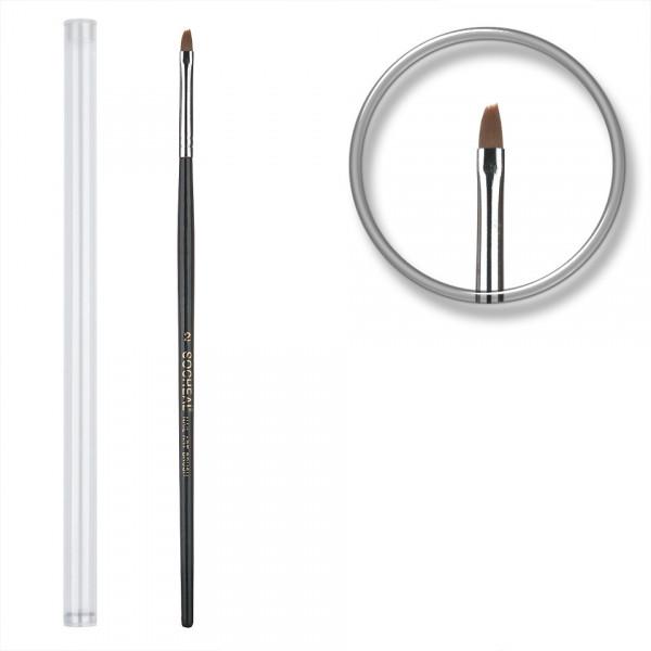 Poze Pensula unghii aplicare gel UV nr.2 cu etui tubular - Sheen Black