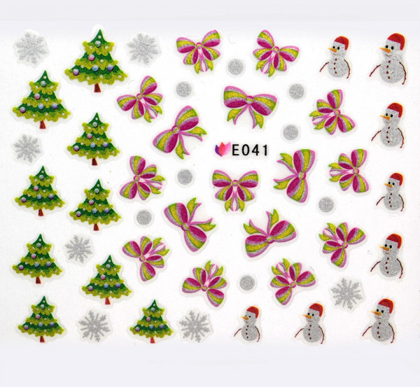 Poze Folie Sticker 3D unghii, model E041 - Pink Ribbons